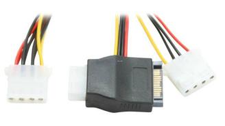 AD-Y-44-0.2M SATA 15Pin Male to 3 X 4Pin Molex Female Adapter Cable