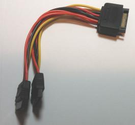 GC15152-6 6inch SATA 15pin Male to Dual SATA 15Pin Female Cable
