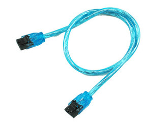 36inch SATA3.0 6Gb/s Round Cable,180 to 180 deg, w/ metal latch,UV Blue