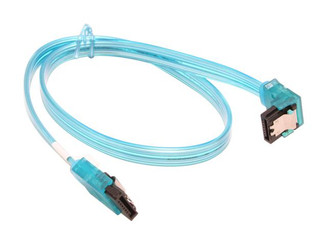 18inch SATA3.0 6Gbs cable ,straight to right, UV blue, metal latch