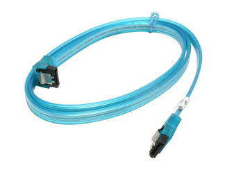 36inch SATA 3.0 6Gbs cable ,Straight to Right, UV blue, metal latch