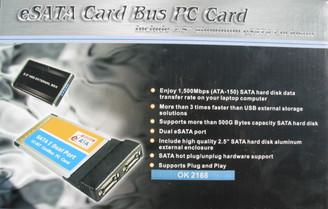 Okgear OK2168 Dual eSATA PCMCIA card w/ 2.5in SATA Enclosure