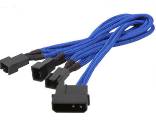 BitFenix BFA-MSC-M33F5VBK-RP (Blue) Alchemy Multisleeved 20cm 4Pin Molex Male to 3x 3Pin Fan Male 5V Adapter Cable