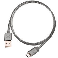 Silverstone SST-CPU04C-1000 (Charcoal, 3.3ft) Reversible USB-A to USB TYPE-C Nylon/Aluminum Cable