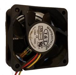 T & T MWP625TH12B 60 x 60 x 25mm Ball Thermal Sensor Fan, 4Pin Molex