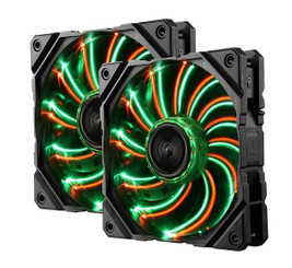 Enermax UCDFVD12P-T D.F.VEGAS DUO 120mm Red Green LED PWM Case Fan (Twin Pack)