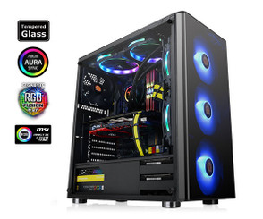 Thermaltake CA-1K8-00M1WN-01 V200 Tempered Glass RGB Edition Mid Tower Chassis