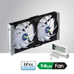 Titan TTC-SC20(C) IP55 Waterproof Double Rack Mount Ventilation Fan with Timer/Speed Controller