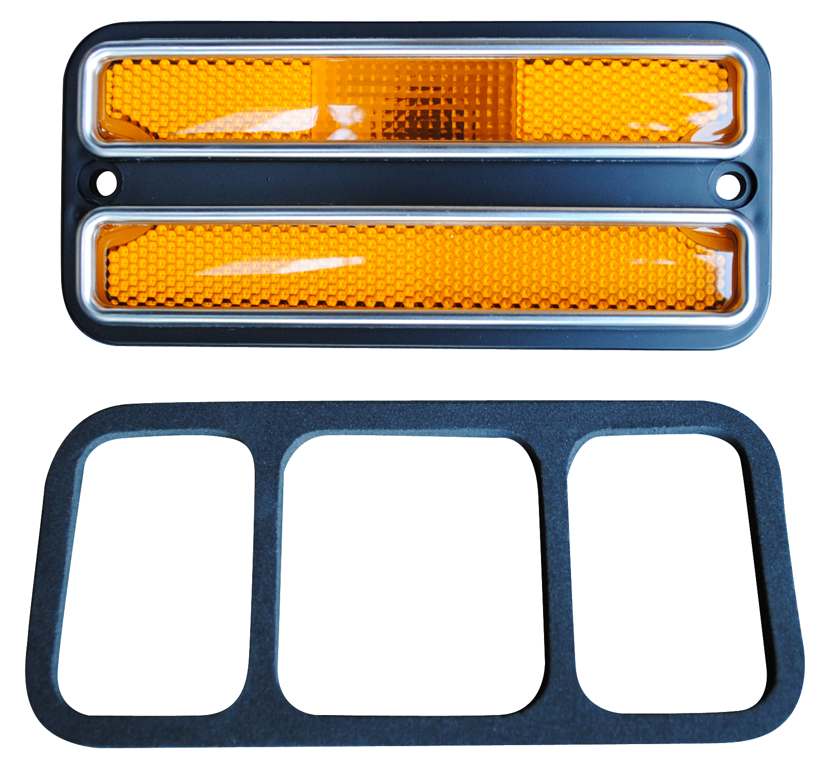 0968-72 C10 front side marker lamp, amber w/trim