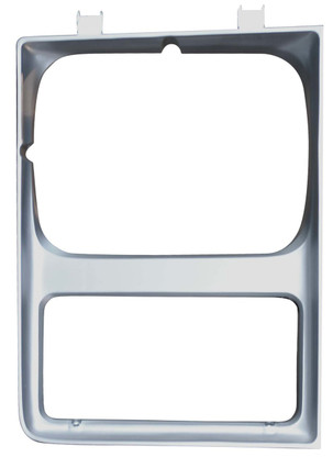 This passenger's side, painted silver headlight bezel fits 1985-87 Chevy and GMC trucks with single headlights.