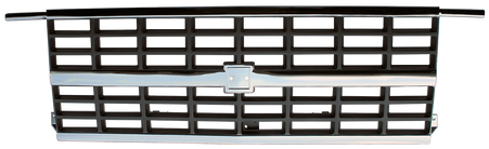 This chrome and silver grille fits 1988-1991 Chevrolet Blazers, R/V Series trucks, and Suburbans with dual headlights