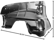 This drivers side inner fender fits 1955 Chevrolet car.
