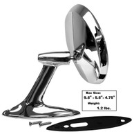 This chrome exterior mirror with gasket and screws fits 1953-54 Chevrolet cars.