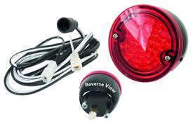 This red with black housing tail light assembly fits 1960-66 stepside Chevrolet and GMC Pickup trucks.