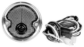 This stainless park lamp assembly (black shown) fits 1954-55 Chevrolet and GMC trucks.