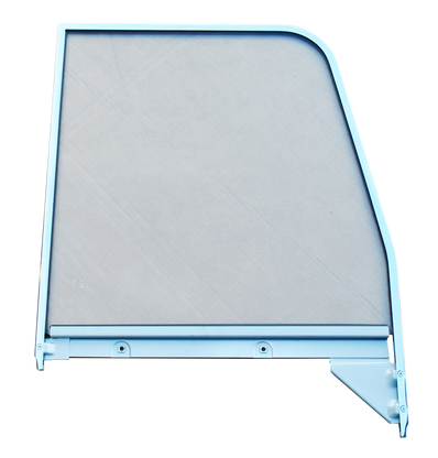 This 2nd Series door glass assembly (clear), with chrome trim, passenger's side fits 1955-1959 Chevrolet and GMC Pickup Trucks