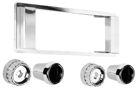This chrome radio bezel and knob kit fits 1964-66 Chevrolet and GMC trucks