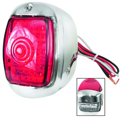 This drivers sidestainless LED tail lamp housing fits 1940-53 Chevrolet and GMC trucks