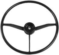 This black steering wheel fits 1957-59 Chevrolet and GMC trucks
