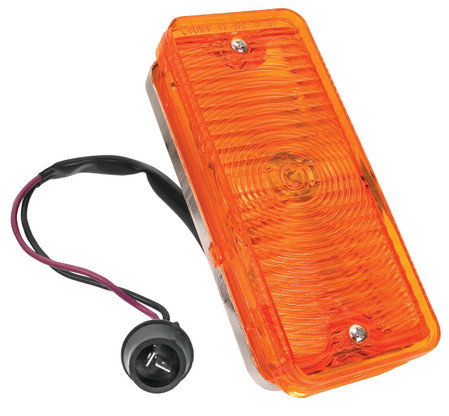 This amber, front, passengers side park lamp assembly fits 1967-68 Chevrolet and GMC trucks