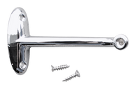 This interior chrome rear view mirror bracket fits 1954-1955 Chevrolet and GMC Pickup Trucks.
