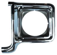 This chrome and dark argent headlight door, driver's side fits 1973-1978 Chevrolet and GMC pickup trucks, Chevrolet Blazers, Suburbans, and GMC Jimmy's.