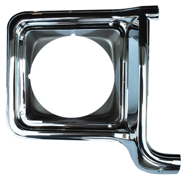 This chrome and dark argent headlight door, passenger's side fits 1973-1978 Chevrolet and GMC pickup trucks, Chevrolet Blazers, Suburbans, and GMC Jimmy's.
