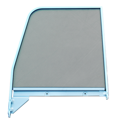 This 2nd Series door glass assembly green tinted, with chrome trim, driver's side fits 1955-1959 Chevrolet and GMC Pickup Trucks.