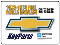 This foil grille emblem fits 1973-74 Chevrolet trucks, Blazers and Suburbans.