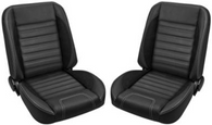 This TMI Pro-Classic Universal SPORT-R, black vinyl, black unisuede inserts, with white stitching, low back bucket seat pair makes a great addition to your classic truck and fits 1947-87 Chevrolet/GMC Trucks. For additional colors and stitching please call Nsane HotRodz at 865-761-0460.