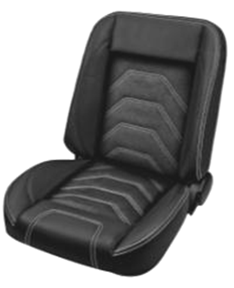 This TMI Pro-Classic Universal SPORT-S, black vinyl, black suede inserts, with black stitching, low back bucket seat pair makes a great addition to your classic truck and fits 1947-87 Chevrolet/GMC Trucks. For additional colors and stitching please call Nsane HotRodz at 865-761-0460.
