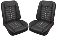 This TMI Pro-Classic Universal SPORT-X, black vinyl, black vinyl inserts, stainless grommets, with red stitching, low back bucket seat pair makes a great addition to your classic truck and fits 1947-87 Chevrolet/GMC Trucks. For additional colors and stitching please call Nsane HotRodz at 865-761-0460.
