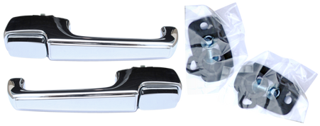 This outer door handle set comes with gaskets, bolts, and washers and fits 1967-72 Chevrolet and GMC pickup trucks and Suburbans, 1969-72 Blazers and Jimmy's.