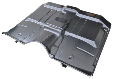 This full floor pan assembly, without trans cover cutout, fits 1963-1966 Chevrolet and GMC Pickup Truck (1963 without torsion beam front suspension)