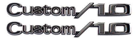 """This GM Licensed """"Custom 10"""" emblem set with hardware fits 1969-1970 Chevrolet Pickup, Blazer and Suburban."""