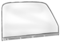 This drivers side clear door glass with frame and chrome trim fits 1947-50 Chevrolet and GMC trucks.