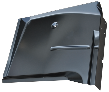 This  passengers side, restoration grade front cab floor pan fits 1967-1972 Chevrolet and GMC Pickup Trucks, Jimmys, Blazers, and Suburbans.