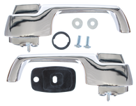 This pair of outside door handles with hardware fit 1967 Chevrolet and GMC Pickup Trucks, Suburbans and Panels.