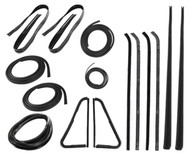 "This 15 pc weatherstrip kit fits 1964-66 Chevrolet and GMC trucks without chrome. Kit includes: ""PRESS ON"" style door seals, upper channels, division post glass runs, vent seal kits, black style windshield seal, beltline kits, rear window seal and comes with a LIFETIME WARRANTY."