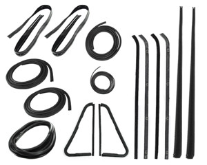 """This 15 pc weatherstrip kit fits 1964-66 Chevrolet and GMC trucks with chrome trim. Kit includes: """"PRESS ON"""" style door seals, upper channels, division post glass runs, vent seal kits, chrome style windshield seal, beltline kits, rear window seal and comes with a LIFETIME WARRANTY."""