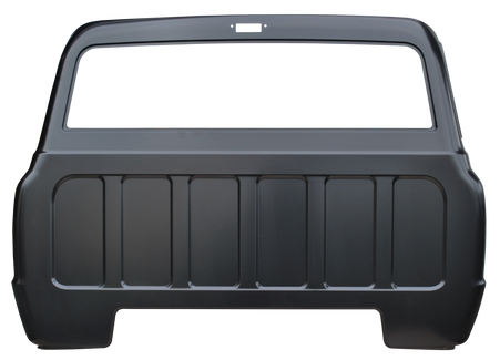 This full cab back panel with large back glass opening and cargo light hole fits 1967-72 Chevrolet and GMC Pickup Trucks.