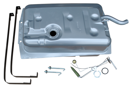 """This fuel tank kit has original style filler necks, fits 1969-1972 Chevrolet Blazer/GMC Jimmy and includes:  Fuel tank Gas tank hangers Fuel level sending unit Lock and """"O"""" ring Hanger bolts"""