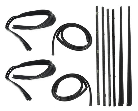 This complete door weatherstrip kit fits 1967-72 Chevrolet and GMC trucks with chrome trim. This kit includes press on door seals, chrome bead beltlines and glass run channels. This 10 pc kit is for both left and right doors.