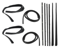 This complete door weatherstrip kit fits 1967-72 Chevrolet and GMC trucks without trim. This kit includes press on door seals, black bead beltlines and glass run channels. This 10 pc kit is for both left and right doors.