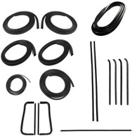 """This Precision Restoration Parts weatherstrip kit comes with a lifetime warranty and fits 1960-63 Chevrolet and GMC Pickup trucks without trim. Kit includes: """"PRESS ON"""" style door seal, upper channel, division post glass run, vent seal kit, rear window seal, windshield seal, beltline kit - for models with black windshield, black rear window trim, without metal framed glass, and all black beltline moldings."""