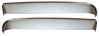 This stainless steel front window vent shade kit includes left and right shades, and all necessary installation hardware. It fits 1951-1955 Chevrolet and GMC Pickup Trucks