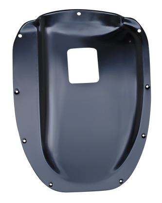 This transmission cover with shift hole fits 1955-1959 Chevrolet and GMC Pickup Trucks
