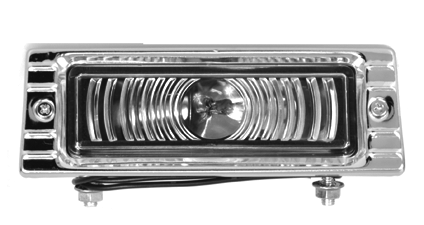 This yellow 12 volt park lamp assembly (clear shown) fits 1947-1953 Chevrolet and GMC Pickup Trucks