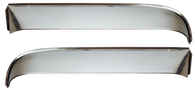 This stainless steel front window vent shade kit includes left and right shades, and all necessary installation hardware. It fits 1955-1959 Chevrolet and GMC Pickup Trucks.