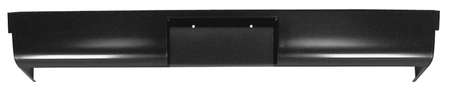 This rear Stepside roll pan with license plate cut out without lights fits 1955-1959 Chevrolet and GMC Pickup Trucks